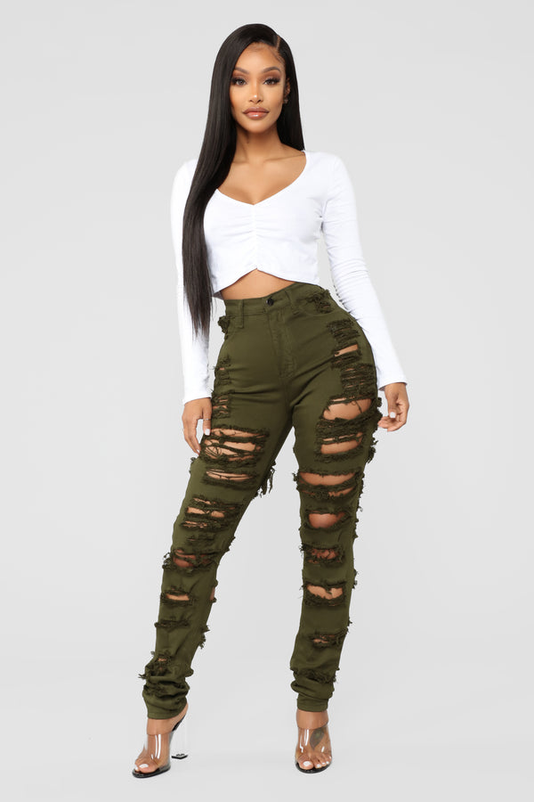 060ed1bf86a7d Things Are Looking Up Distressed Jeans - Olive