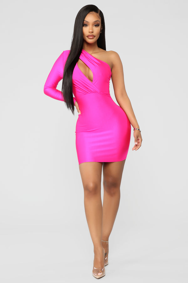 d2f4f80eb68c Attract A Crowd One Shoulder Dress - Fuchsia