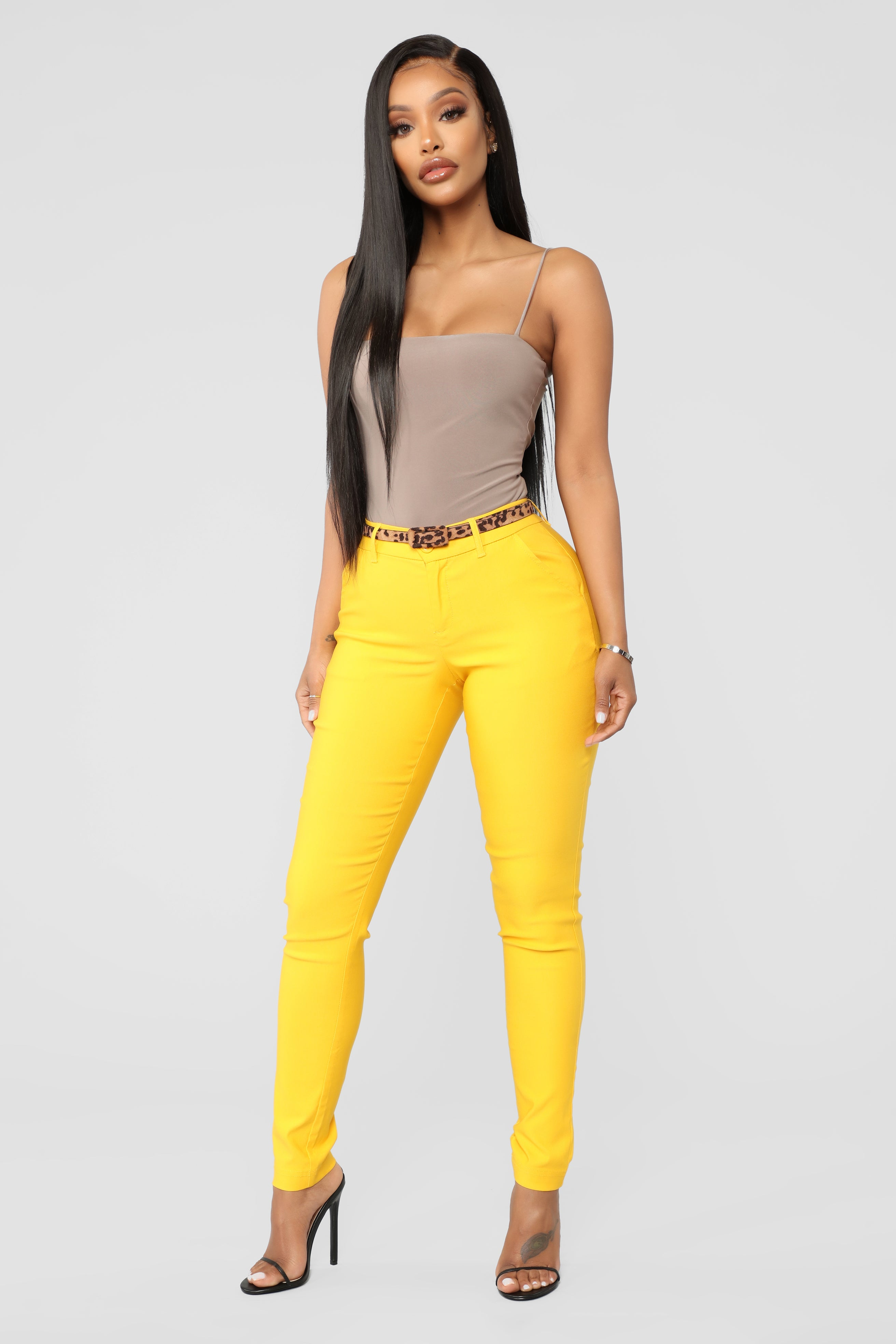 59472470819 Seize The Day Belted Skinny Pants - Mustard