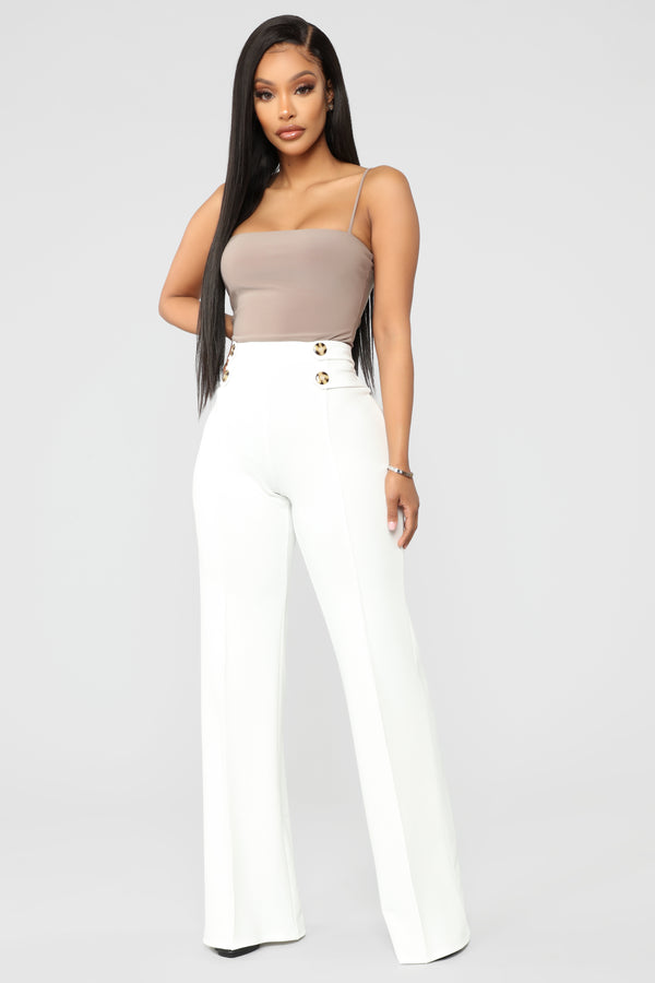 9b8a00ea74 Finesse Goddess High Rise Flare Pants - White