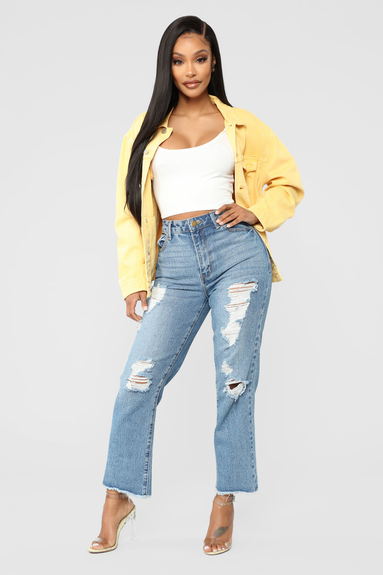 Fake Love Denim Jacket - Mustard