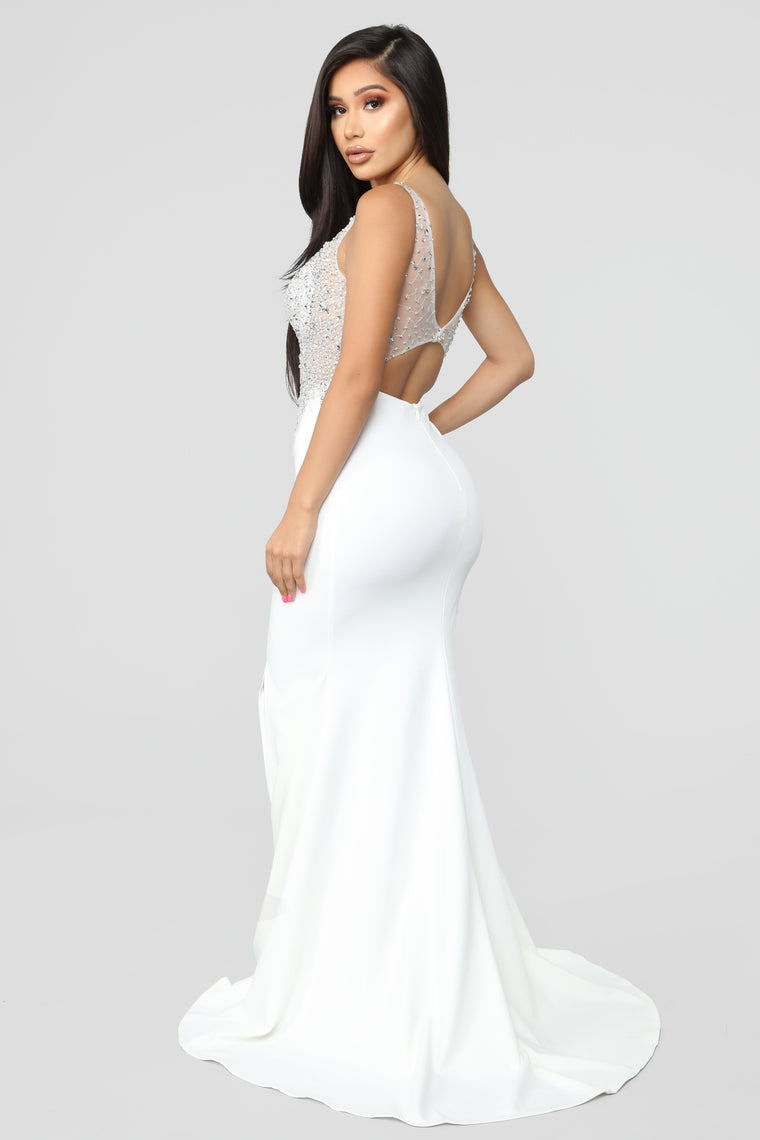 Night Under The Stars Embellished Gown - Ivory