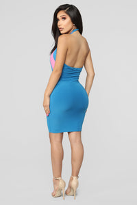 My Sights On You Halter Mini Dress - Turquoise/Pink