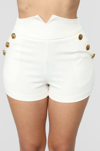 Ready To Mingle Button High Rise Shorts - White