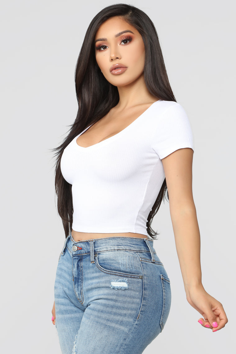 Chloe Ribbed Top - White