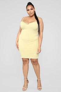 Better Around Ribbed Mini Dress - Yellow