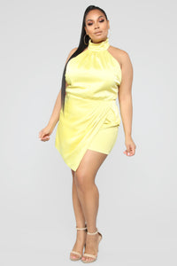 Own Your Class Satin Halter Romper - Yellow Angle 7