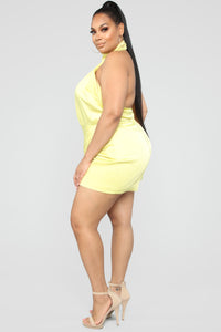 Own Your Class Satin Halter Romper - Yellow Angle 8