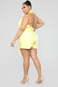 Own Your Class Satin Halter Romper - Yellow Angle 9