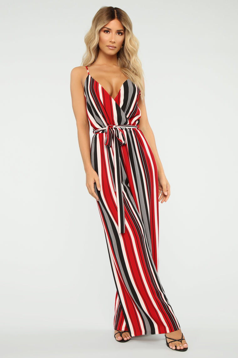 Many Moods Stripe Jumpsuit - Red/Black