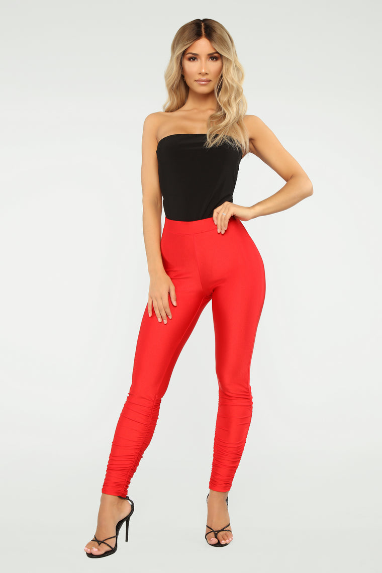 Hurt Your Feelings Ruched Leggings   Red by Fashion Nova