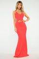 Pull Up In A Limo Cutout Maxi Dress - Coral