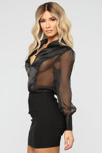 Sheer Confidence Blouse - Black