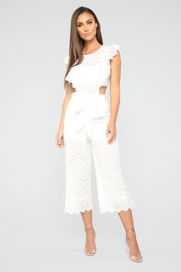 dab257f9d7 Sounds Like Fun Eyelet Jumpsuit - White