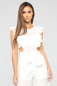 Sounds Like Fun Eyelet Jumpsuit - White Angle 2