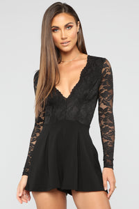 All Good Things Lace Romper - Black