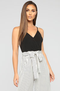 See The Sights Stripe Jumpsuit - Off White/Black