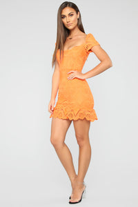 I'm Sugar Sweet Crochet Mini Dress - Orange