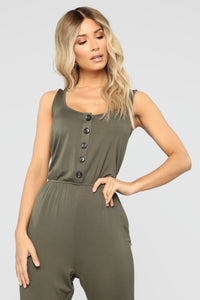 Simone Button Front Jumpsuit - Olive Angle 2