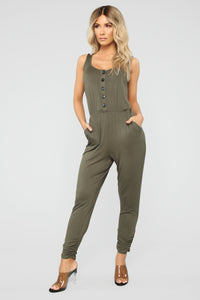 Simone Button Front Jumpsuit - Olive Angle 1