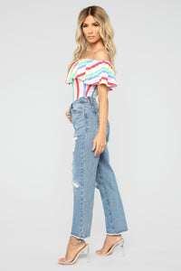Leah Off Shoulder Bodysuit - MultiColor