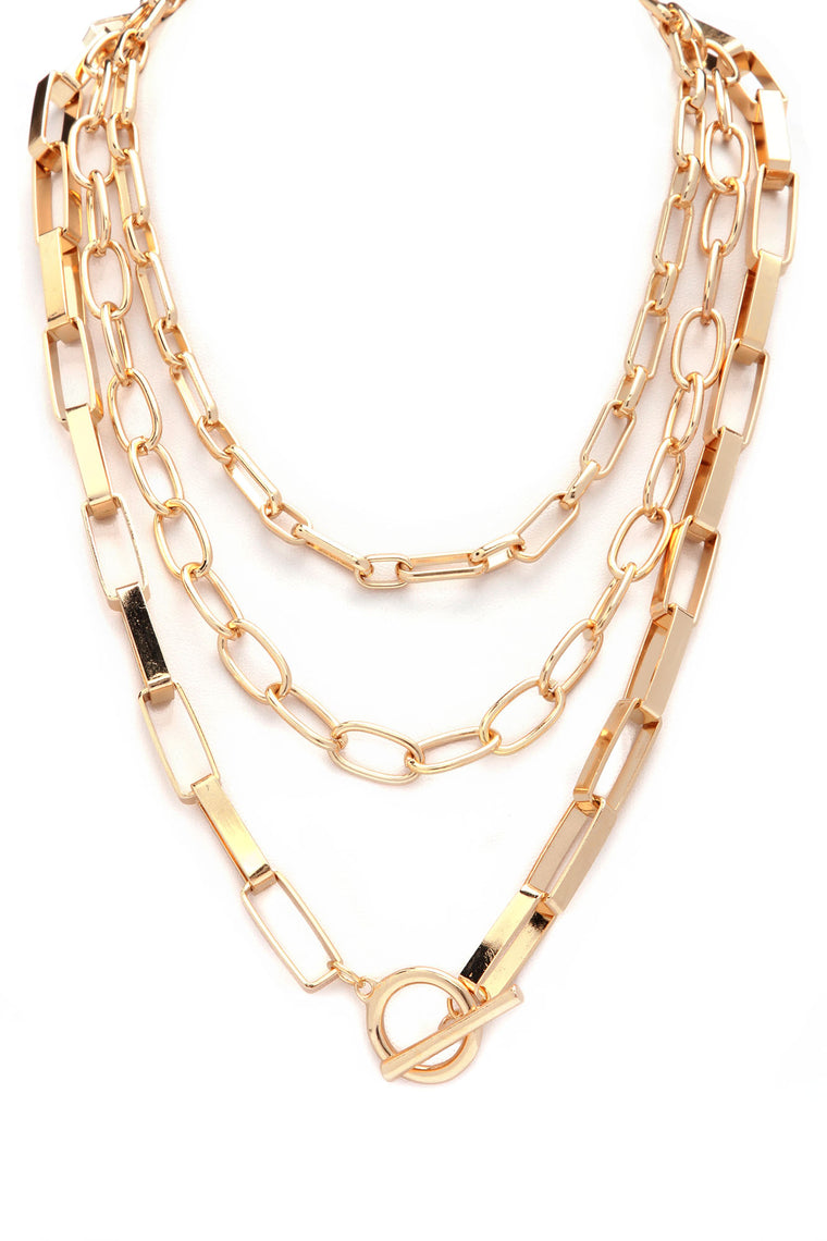 Chained To Your Heart Layered Necklace - Gold