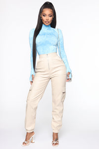 Smoky Mirrors Turtle Neck Bodysuit - Blue Angle 2