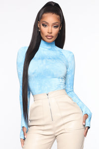 Smoky Mirrors Turtle Neck Bodysuit - Blue Angle 3