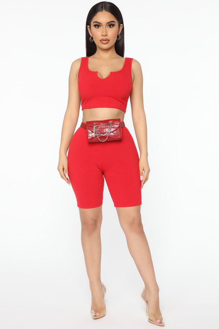 Not In A Rush Ribbed Biker Short Set - Red