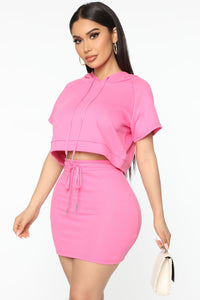 Too Cool For You Short Sleeve Lounge Skirt Set - Magenta Angle 2
