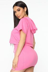 Too Cool For You Short Sleeve Lounge Skirt Set - Magenta Angle 3