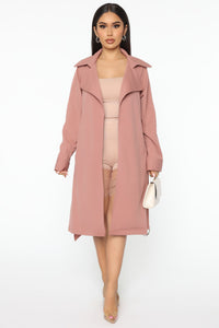 Check Your Coat Trench Coat - Mauve Angle 1