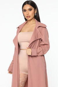 Check Your Coat Trench Coat - Mauve Angle 2