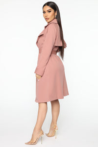 Check Your Coat Trench Coat - Mauve Angle 3