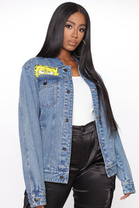 Peek A Boo Spongebob Denim Jacket - Indigo Angle 2