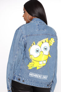 Peek A Boo Spongebob Denim Jacket - Indigo Angle 1