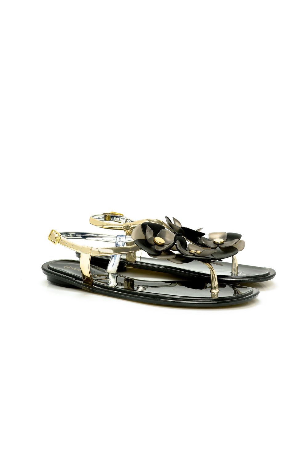 Flower Power Flat Sandal - Black