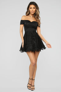 Pretty Diva Fit And Flare Dress - Black