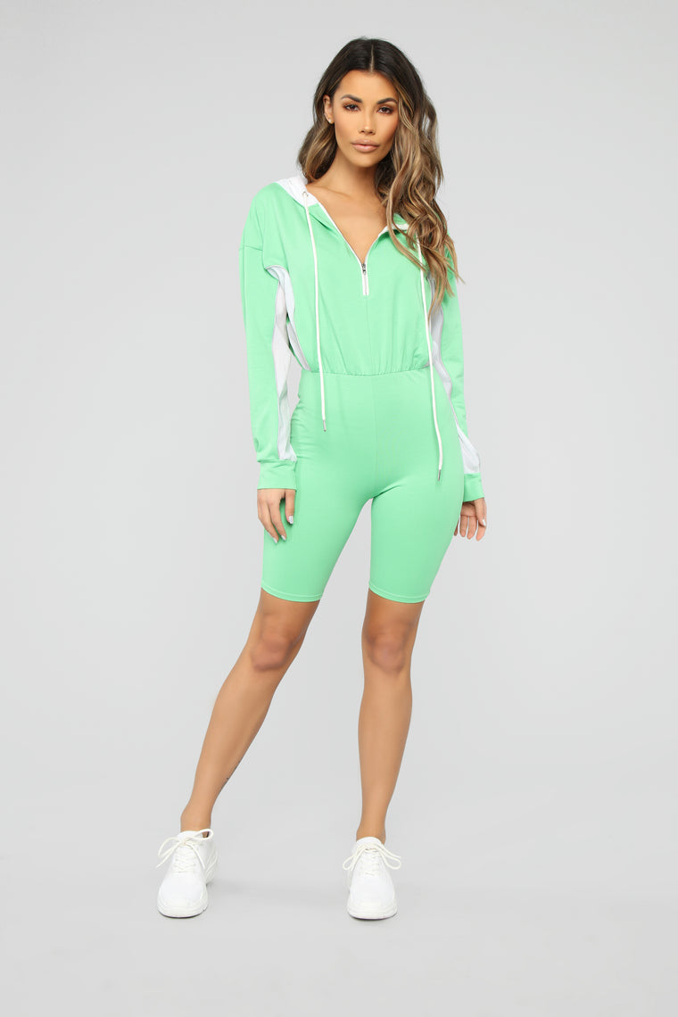 Keep Them Guessing Lounge Romper - Green/White