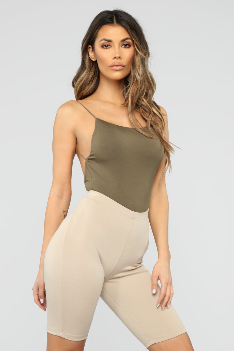 Kiki Low Back Bodysuit - Olive