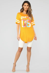 Queen Jersey Tunic Top - Yellow Angle 2