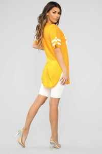 Queen Jersey Tunic Top - Yellow Angle 4