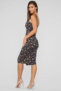 Send My Love Your Way Floral Dress - Navy Floral