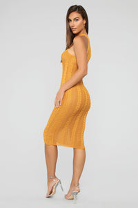 Lips On Mine Sweater Midi Dress - Camel