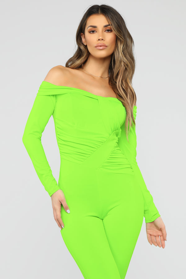 d0204cf0b69 Ruched Up Cutie Jumpsuit - Neon Green