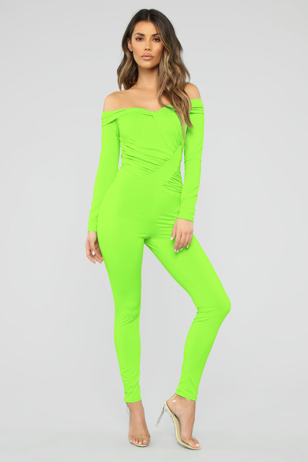 bc810d9aea2f Ruched Up Cutie Jumpsuit - Neon Green