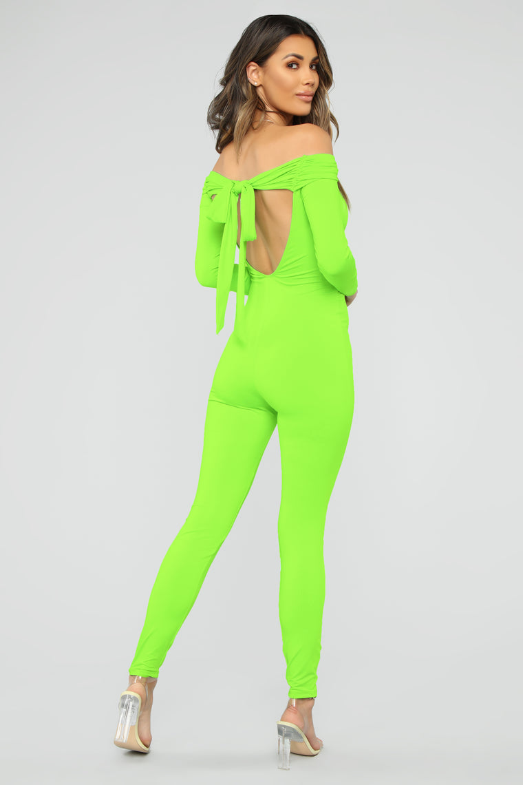 Ruched Up Cutie Jumpsuit - Neon Green