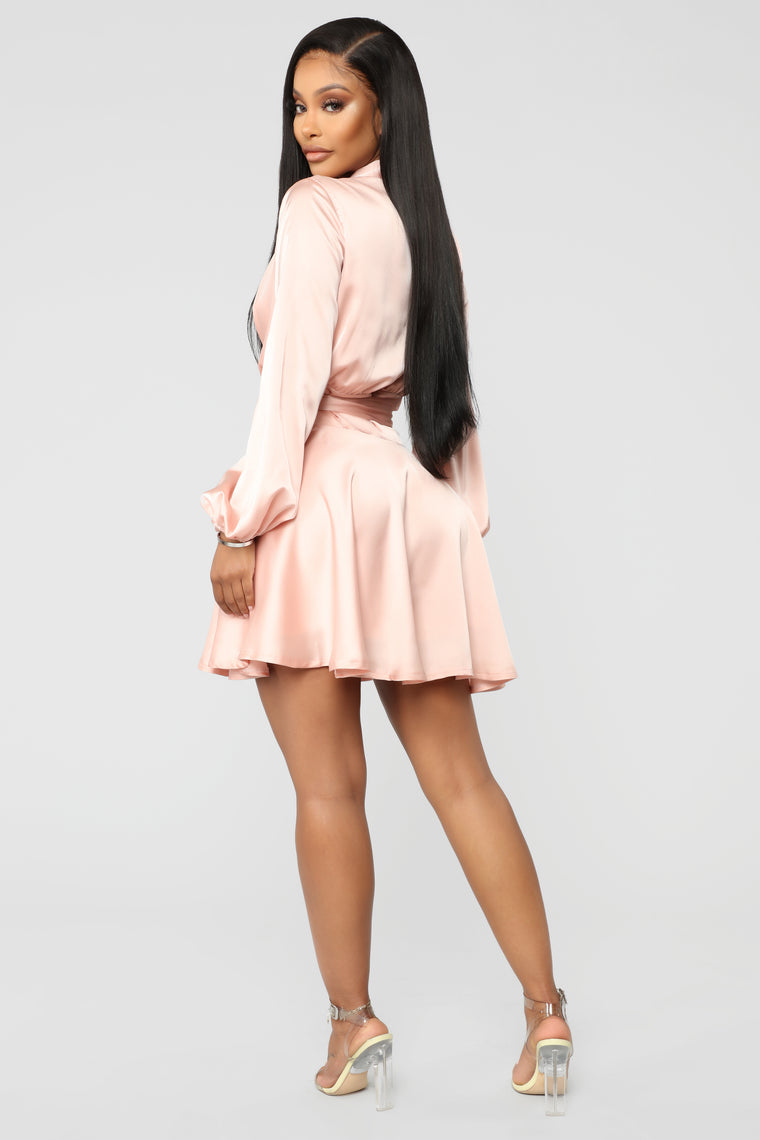 Flare For The Mysterious Mini Dress - Mauve