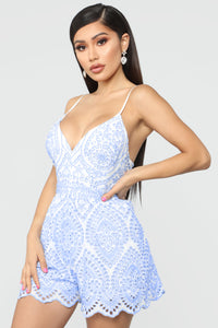 Emily Eyelet Romper - Light Blue