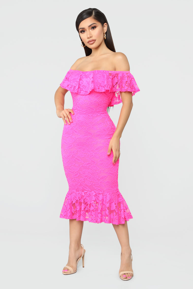 Sweet Innocence Lace Midi Dress - Neon Pink